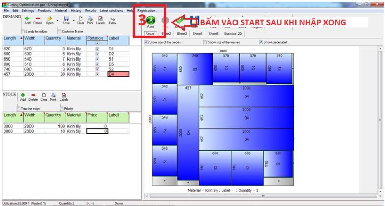 cách sử dụng phần mềm cắt kính - Cutting Optimization Pro