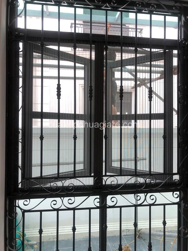 cửa lưới chống muỗi dạng xếp mở trượt 2 cánh cho cửa sổ