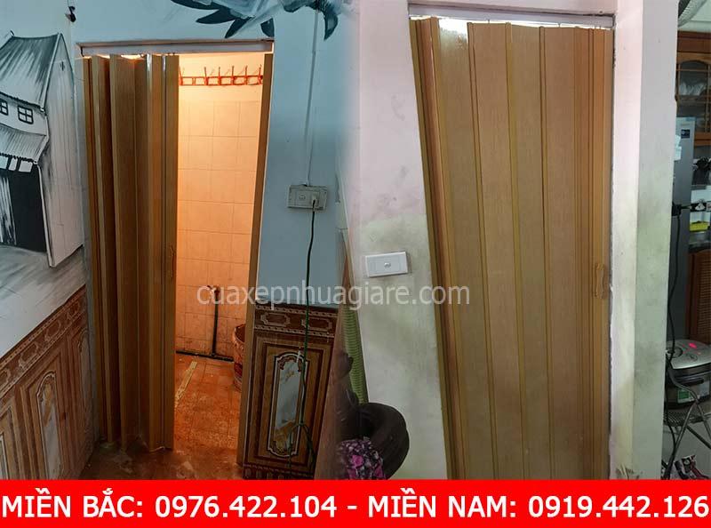 cửa xếp nhựa cao cấp màu vàng be vân gỗ