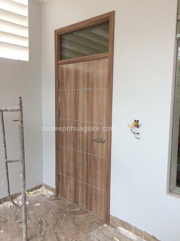 cửa nhựa giả gỗ abs hàn quốc có ô kính cố định tại hà nội