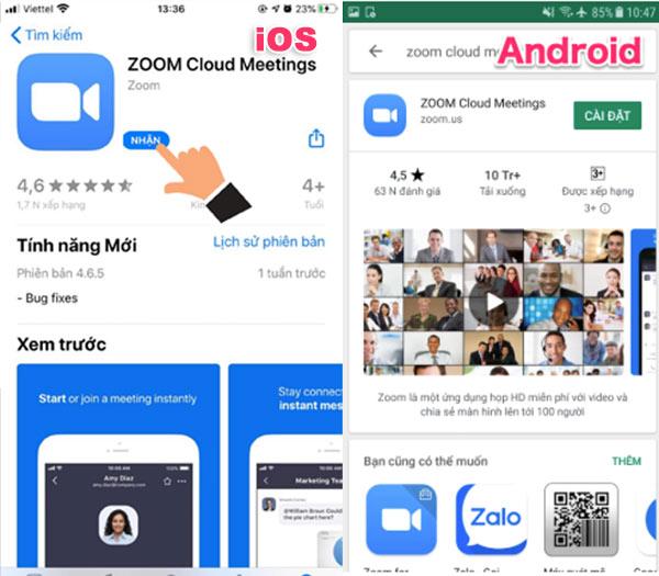 cài đặt phần mềm zoom cho điện thoại iphone, android