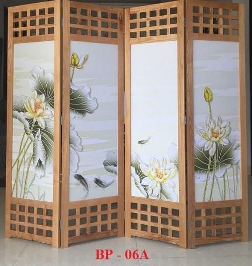 bình phong gỗ cá chép hoa sen cho phòng thờ