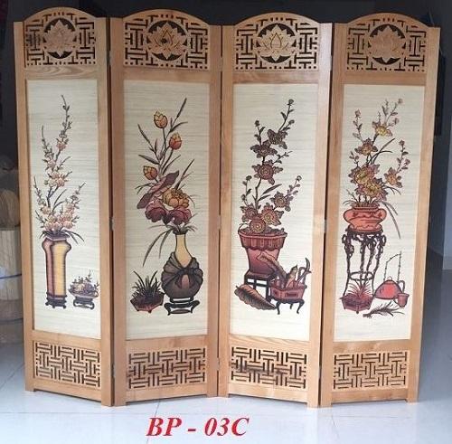 bình phong gỗ che chắn bàn thờ