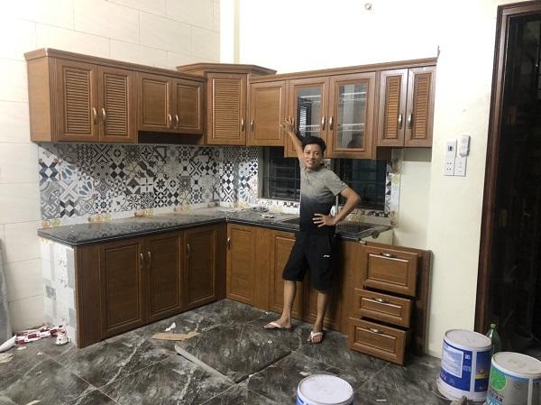 lắp đặt tủ bếp nhôm hệ omega tại nhà hà nội