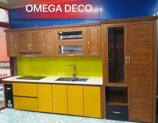 tủ bếp nhôm hệ omega deco bền đẹp
