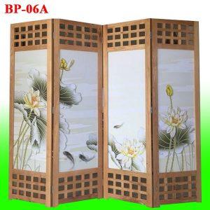 bình phong gỗ tranh lụa cá chép hoa sen phú quý