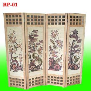 bình phong gỗ tứ quý mã BP-01