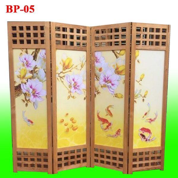 mẫu bình phong gỗ tranh vải lụa hoa cá đẹp