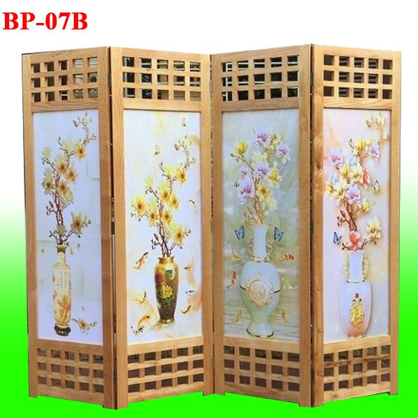 bức bình phong gỗ tranh vải lụa tứ bình BP07