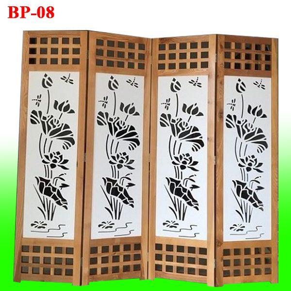 mua bình phong gỗ CNC hoa sen đẹp BP-08