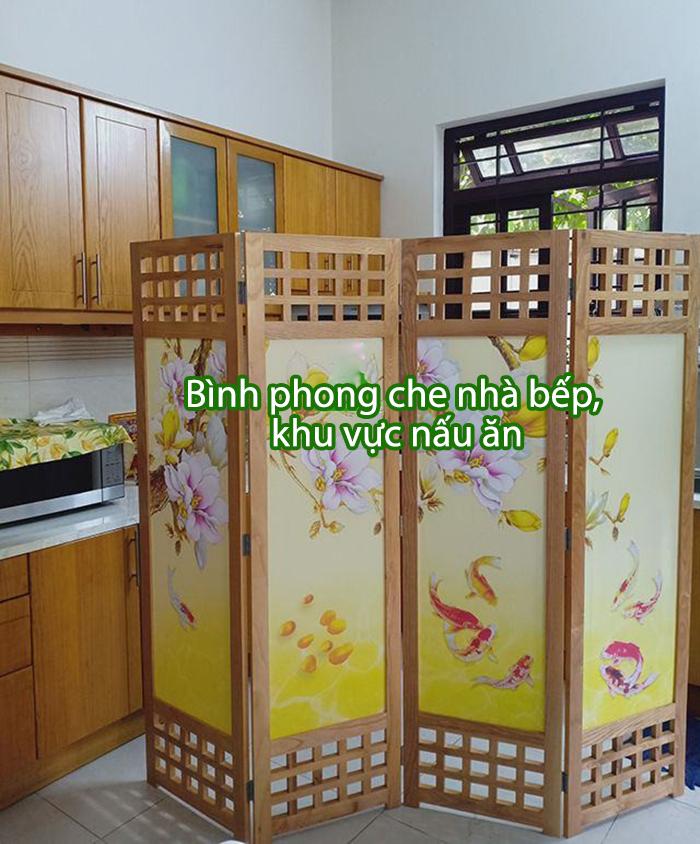 bình phong gỗ che phòng bếp và phòng khách