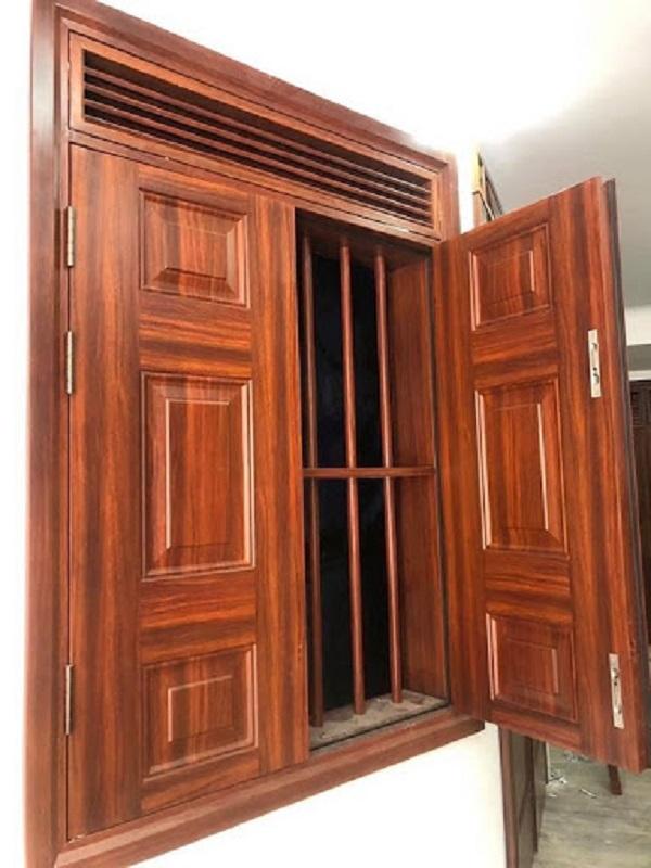 cửa thép vân gỗ cửa sổ 2 cánh