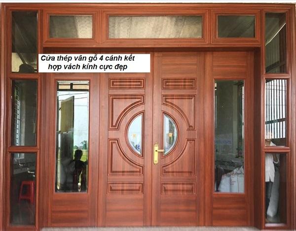 cửa thép vân gỗ kết hợp vách đẹp