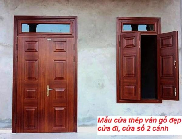 mẫu cửa thép vân gỗ đẹp